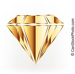 logotipo, diamante, oro