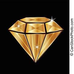 logotipo, diamante, oro