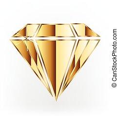 logotipo, diamante, ouro