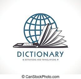logotipo, -, dicionário online, conceito, -, laptop, como, livro