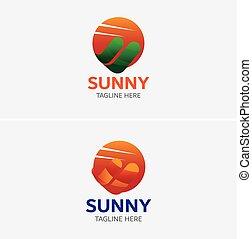 logotipo, digital, dados, modelo, sol