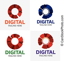 logotipo, digitale, sagoma, media
