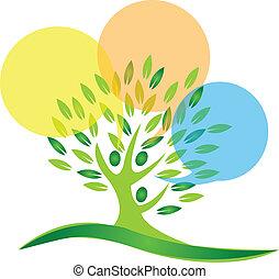 logotipo, discurso, burbujas, árbol, gente