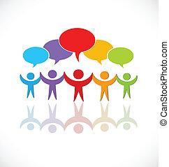 logotipo, discurso, grupo, trabajo en equipo