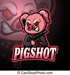 logotipo, diseño, cerdo, esport, mascota