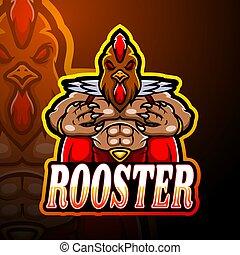 logotipo, diseño, esport, gallo, mascota