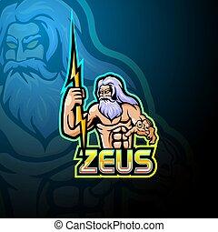logotipo, diseño, esport, zeus, mascota