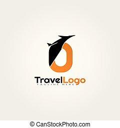 logotipo, diseño, iniciales, o, vector, agente, carta, viaje