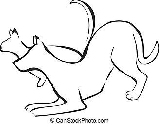 logotipo, diseño, perro, gato