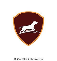 logotipo, disegno astratto, cane, sagoma