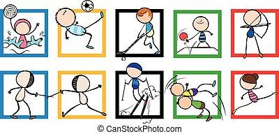 logotipo, disegno, con, differente, sport