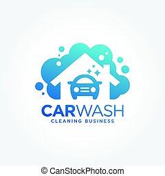 logotipo, disegno, lavare, automobile
