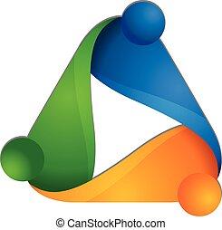 logotipo, disegno, persone, riunione, lavoro squadra