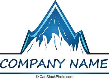 logotipo, ditta, vettore, montagne