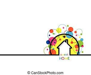 logotipo, dolce, text., illustrazione, vettore, disegno, posto, fondo, casa, casa, bianco
