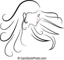 logotipo, donna, bellezza, faccia