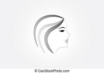 logotipo, donna, carino, faccia