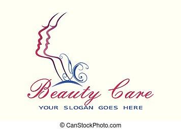 logotipo, donna, cura bellezza
