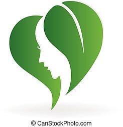 logotipo, donna, ecologia, faccia