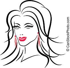 logotipo, donna, moda, bellezza, faccia