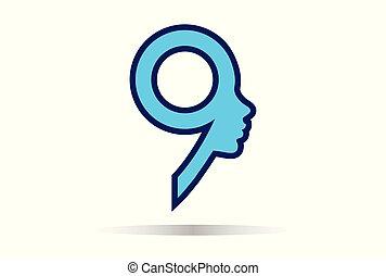 logotipo, donna, nove, numero