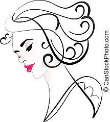logotipo, donna, silhouette, carino, faccia