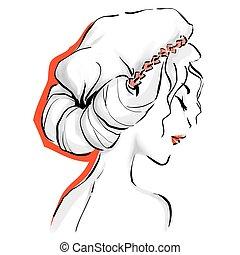 logotipo, donna, taglio capelli, elegante