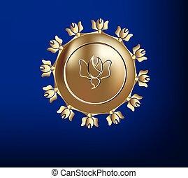 logotipo, dorato, etichetta, per, cosmetico, industria