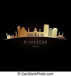 logotipo, dorato, skyline., damasco