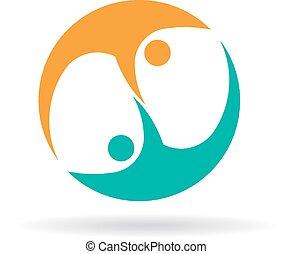 logotipo, dos personas