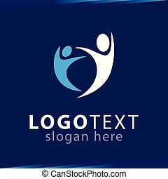 logotipo, dos, plantilla, gente