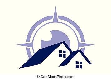 logotipo, dsign, bussola, casa
