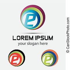 logotipo, e, lettera, elemento