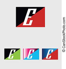 logotipo, e, lettera, rettangolare