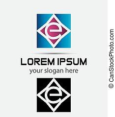 logotipo, e, lettera