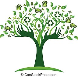 logotipo, ecológico, árbol, verde, manos