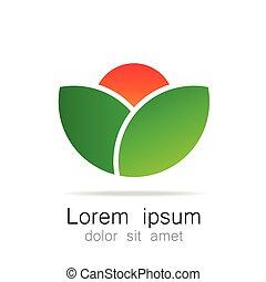logotipo, ecológico, natural, paisagem, modelo