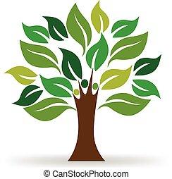 logotipo, ecologia, árvore, pessoas