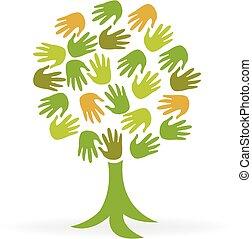logotipo, ecologia, árvore, verde, mãos
