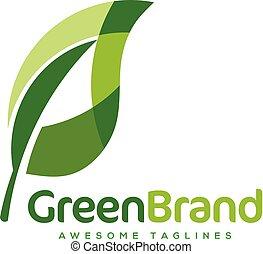 logotipo, ecologia, foglia, verde, natura