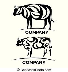 logotipo, ecologia, mucca