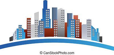 logotipo, edifícios
