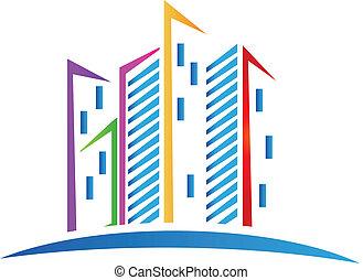 logotipo, edificios, colorido