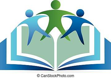 logotipo, educación, libro