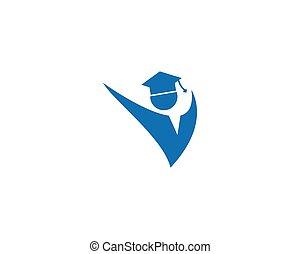 logotipo, educación, plantilla
