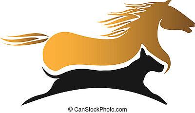 logotipo, el competir con del caballo, perro