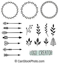logotipo, elementi, hipster, creator., vendemmia