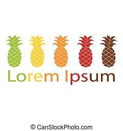 logotipo, elemento, ananas, colorful., appartamento