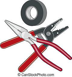 logotipo, elettricista, attrezzi