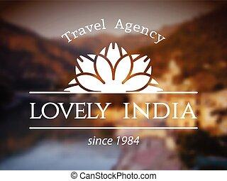 logotipo, encantador, índia, modelo